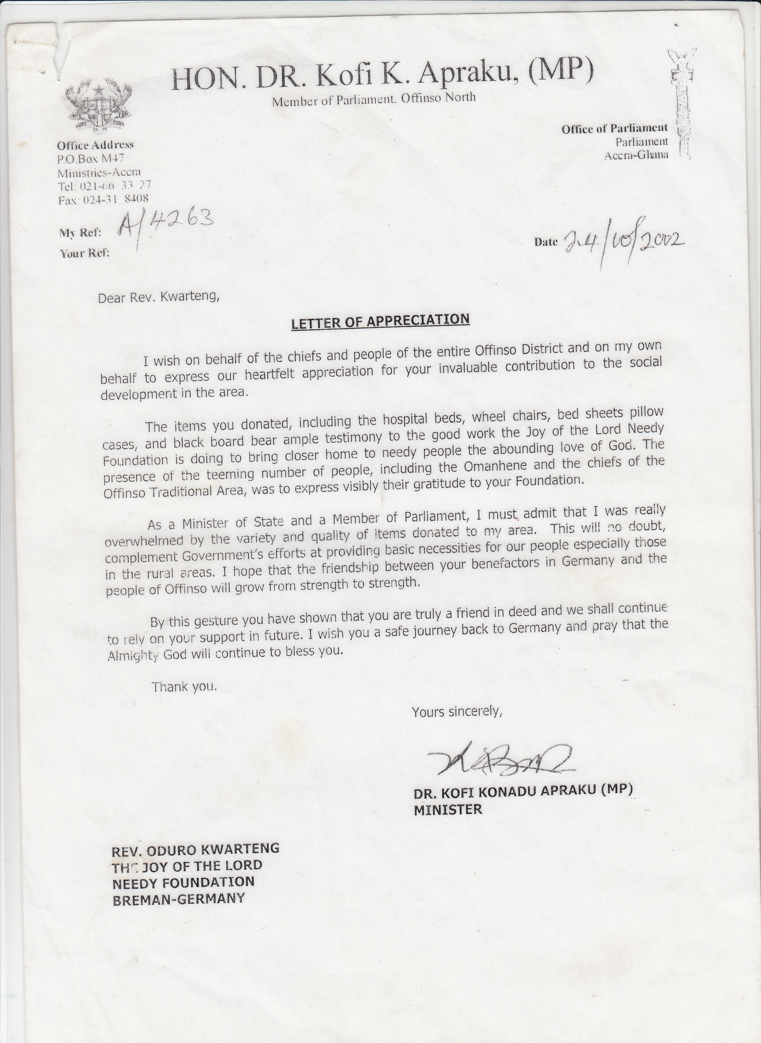 Letter of Appreciation from the Offinso North MP